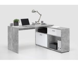 Schreibtisch eckschreibtisch winkelschreibtisch beton grau for Schreibtisch hochglanz grau