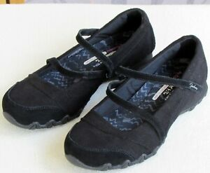 9-Skechers-Relaxed-Fit-Women-Black-Leather-Textile-Double-Mary-Jane-Flat-Shoe