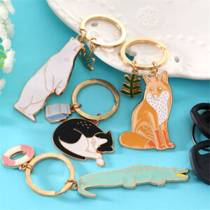Cute-Animal-Keychains-Black-Cats-Bear-Fox-KeyChain-Pet-Jewelry-Key-Accessor-ti
