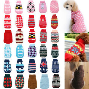 New-Dog-Pet-Cat-Warm-Jumper-Sweater-Clothes-Knitwear-Costume-Coat-Apparel-IE
