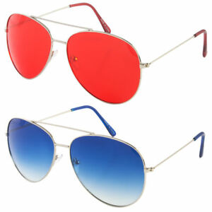 cd7e0ba9a5 Image is loading CLASSIC-AVIATOR-SUNGLASSES-BLUE-RED-YELLOW-COLOR-TINTED-