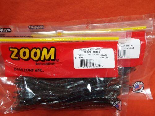 """ZOOM 6.5/"""" Trick Worm 2 PCKS #006-239 Grn Pumpkin Blue 20cnt"""