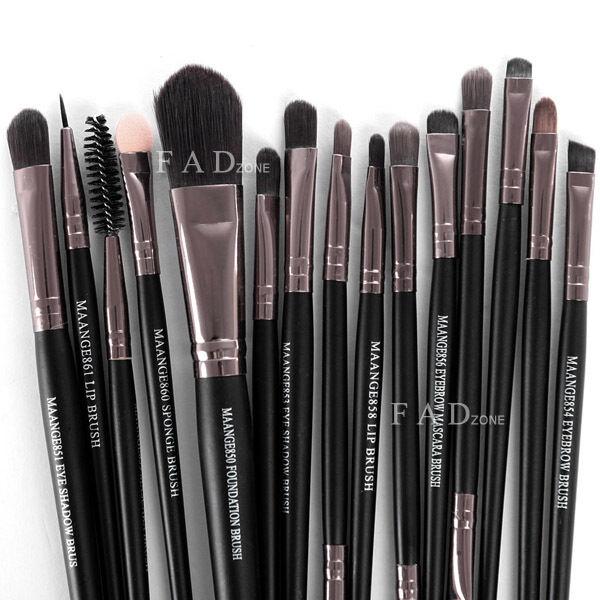 Pro 15pc Make Up Tool Brush Kit Foundation Eyeshadow Mascara Lip Brush  Eyebrow