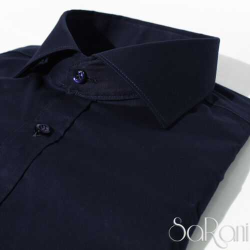 Camicia Uomo Casual Basic Cotone Tinta Unita Blu Manica Lunga Slim Fit SARANI