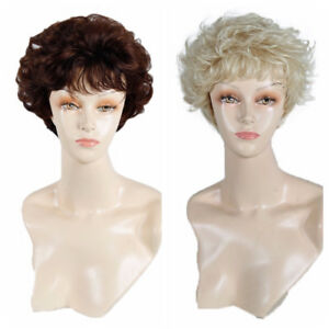 Women-039-s-Short-Curly-Wavy-Blonde-Brown-Wig-Heat-Resistant-Synthetic-Hair-Full-Wig