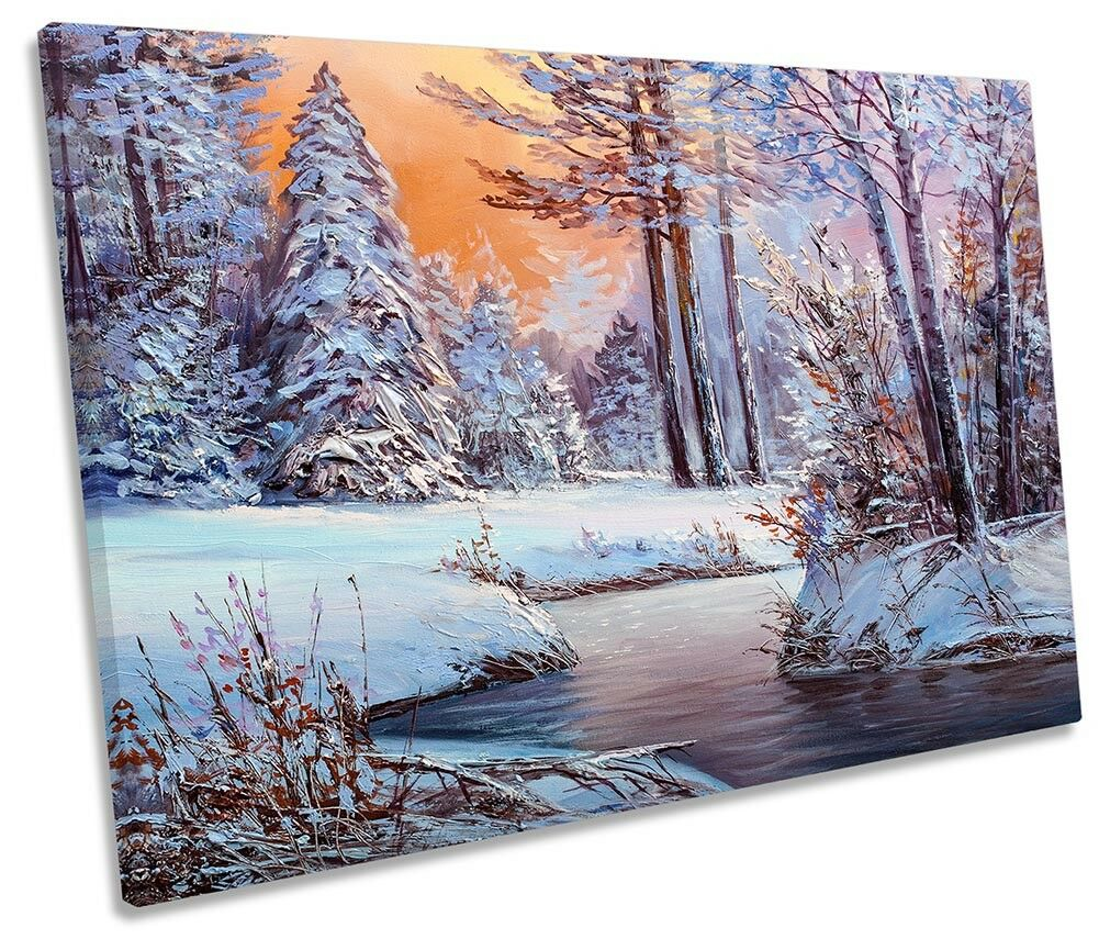 Winter Snow Forest Sunset SINGLE CANVAS Wand KunstWORK Drucken Kunst