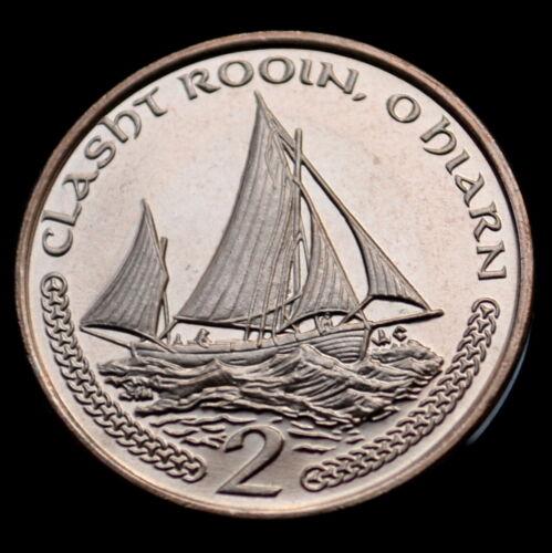 2002 Sailboats coin UNC km1037 Isle Of Man 2 Pence