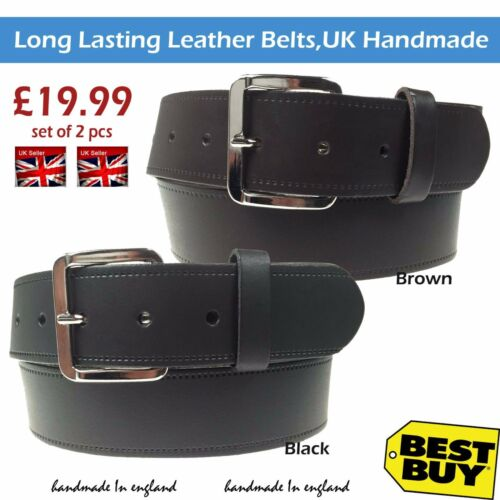"Fatto A Mano Jeans Wear 40mm REAL LEATHER BELT 1.5/"" Pollici di larghezza NUOVO Set di 2 PZ"
