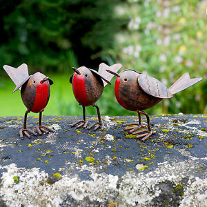 3-Metal-Robin-Bird-Garden-or-Home-Ornaments-Hand-Finished-Robins