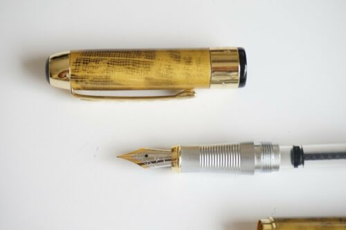 UK SOLD! Jinhao X250 Golden Grid Marble Fountain Pen FINE Nib Gold Trim