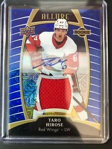 2019-20-UD-Allure-Taro-Hirose-Rookie-Blue-Line-Auto-Jersey-Red-Wings-99