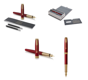 100% Vrai Parker Sonnet Red-lacquer, Gold-finish Trim Fountain Pen 18k, Fine Nib - Gift Bo