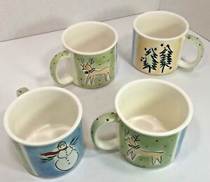 Set-4-Eddie-Bauer-16-Oz-Soup-Cups-Mugs-Tree-Snowman-Reindeer-Christmas-Winter