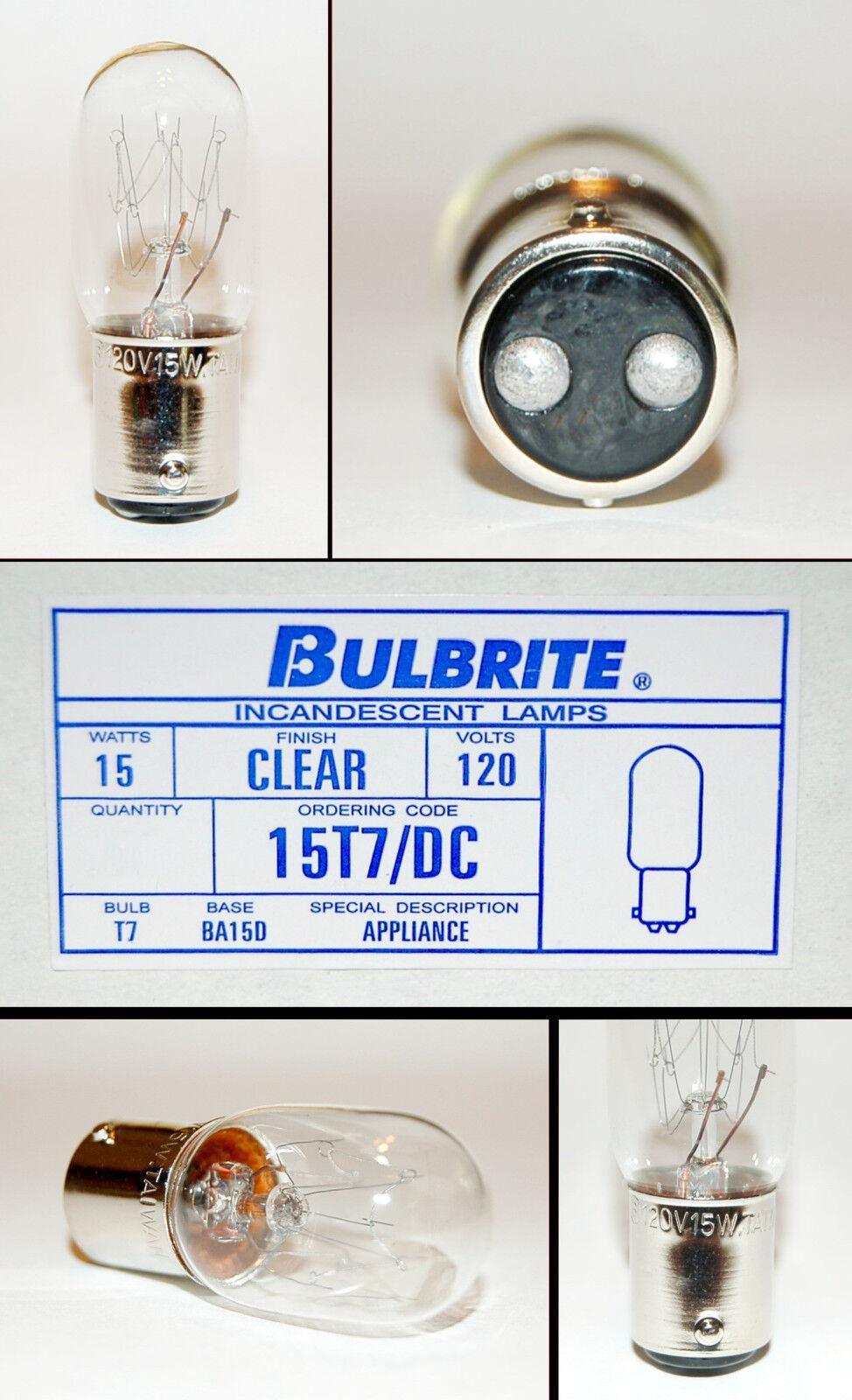 3 BULBRITE INCANDESCENT BULB # 15T7 DC 15 WATT 120 VOLT BASE BA15D