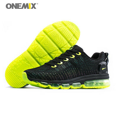 ONEMIX Men Running Shoes Outdoor Athletic Sneakers Reflective Sport Black Shoes