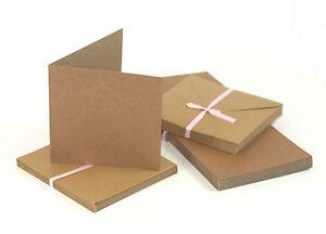 50-x-Klappkarten-amp-Briefumschlaege-Kraftpapier-ECKIG-BRAUN-Doppelkarten
