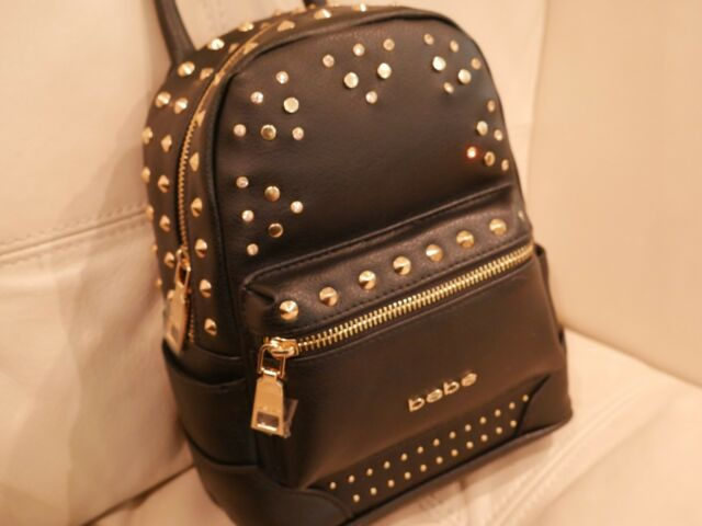 NEWWT BEBE JETT TRIANGLE BACKPACK Hand Bag PURSE BLACK LEATHER STUDS  RHINESTONE 032b416634035