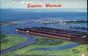 Superior-Wisconsin-USA-Amerika-1960-70-Blick-auf-die-Docks-Schiff-Panorama