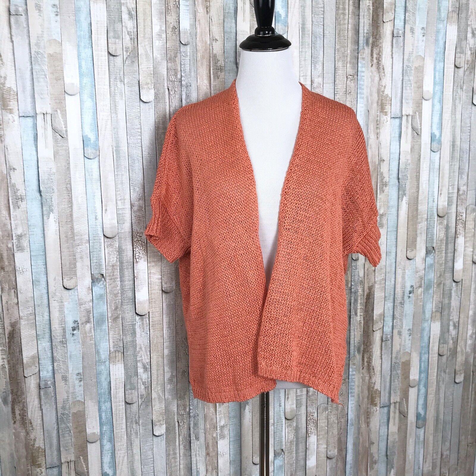 Eileen Fisher XS orange Peach Organic Organic Organic Cotton Knit Shrug Open Cardigan Sweater b91d2b
