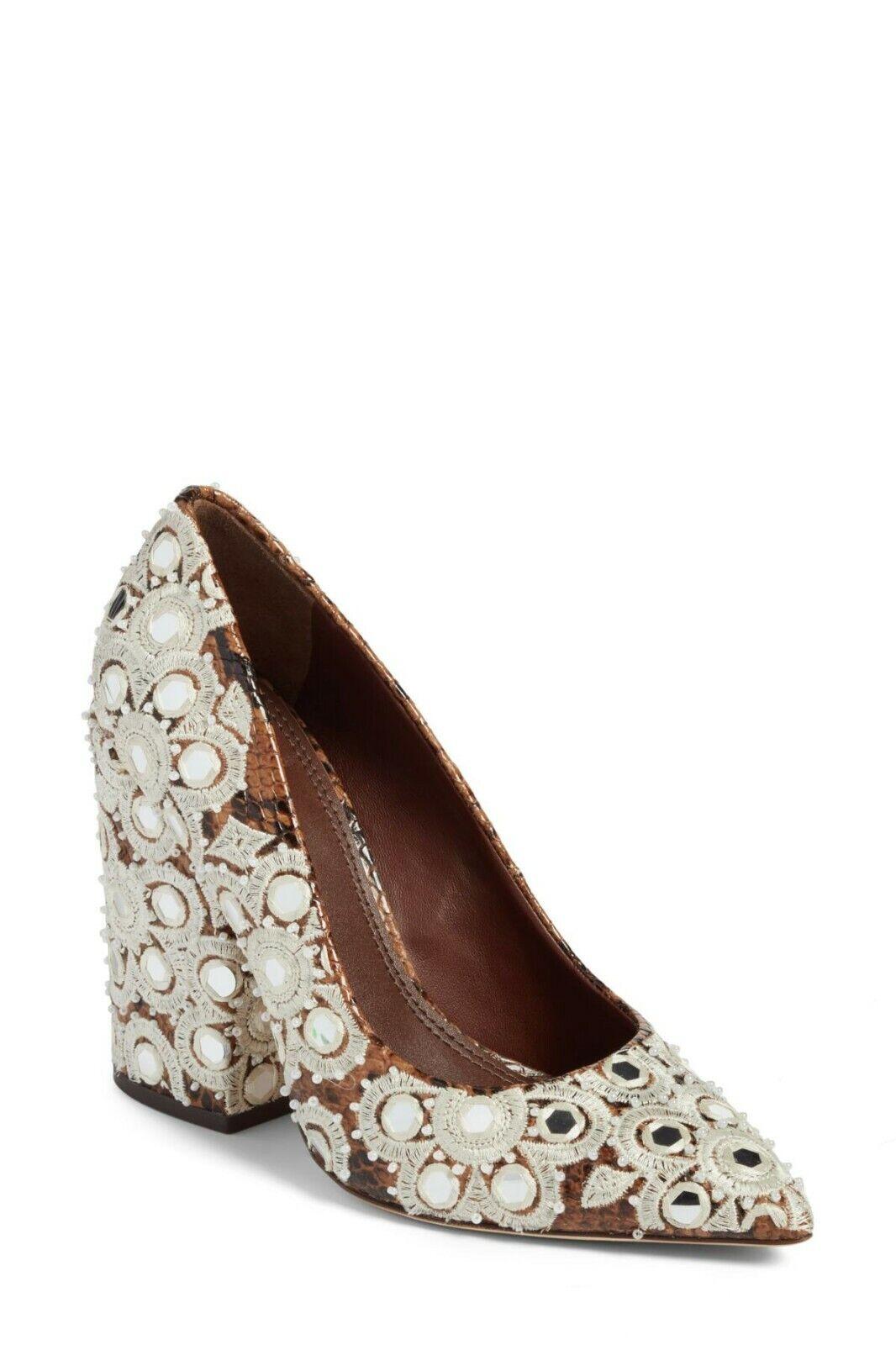 Tory Burch Francesca Pointy Toe Pump (Women) Textile and leather, Sz 10  698 NWB