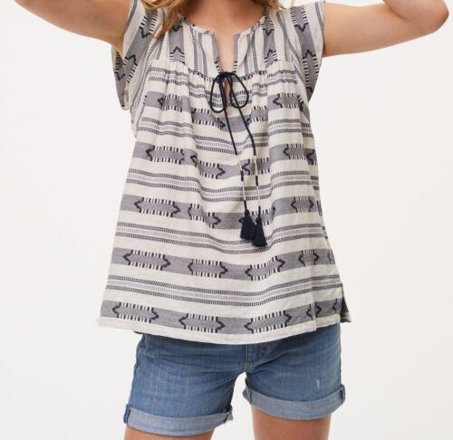 Ann Taylor LOFT Cotton Striped Tassel Top Various Sizes NWT Whisper White Color