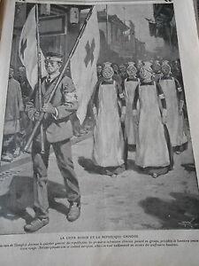 La-Croix-rouge-et-la-republique-Chinoise-drapeau-Old-Print-1912
