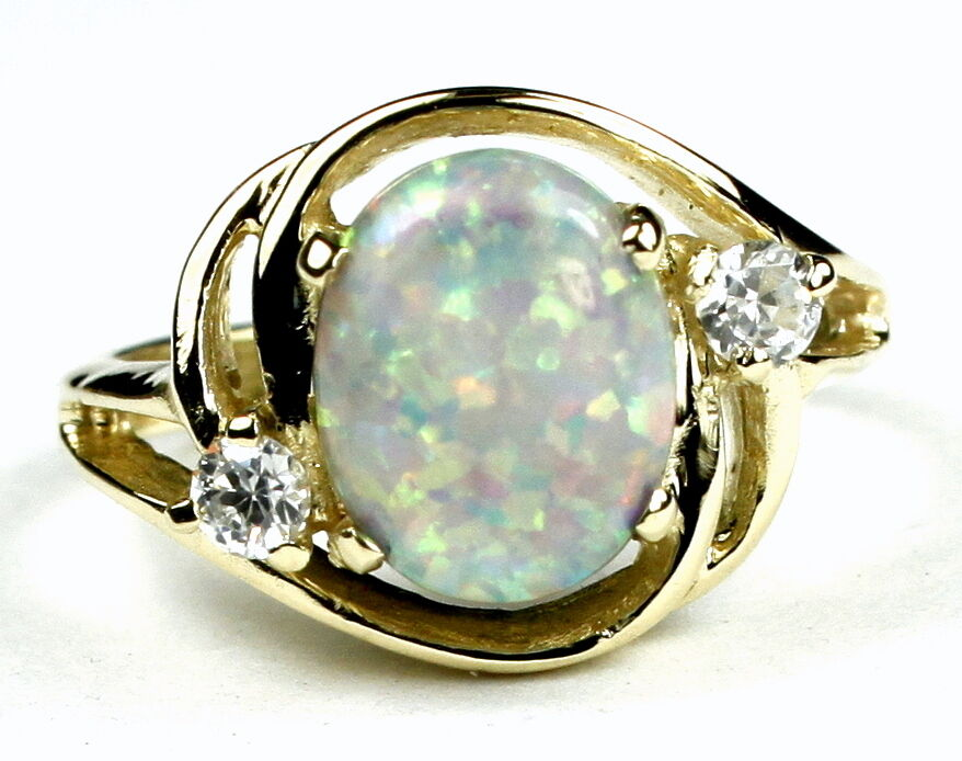 Created White Opal, Solid 10KY or 14KY gold Ladies Ring, R021-Handmade