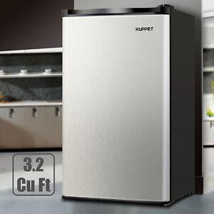 3.2 CU.FT. Mini Refrigerator Compact Fridge Freezer Freestanding Black & Silver