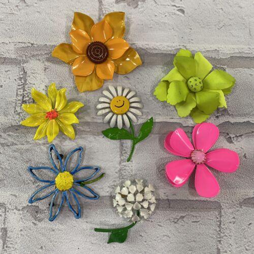 7 Vintage Metal Enamel Flower Brooch Pins Lot 1960