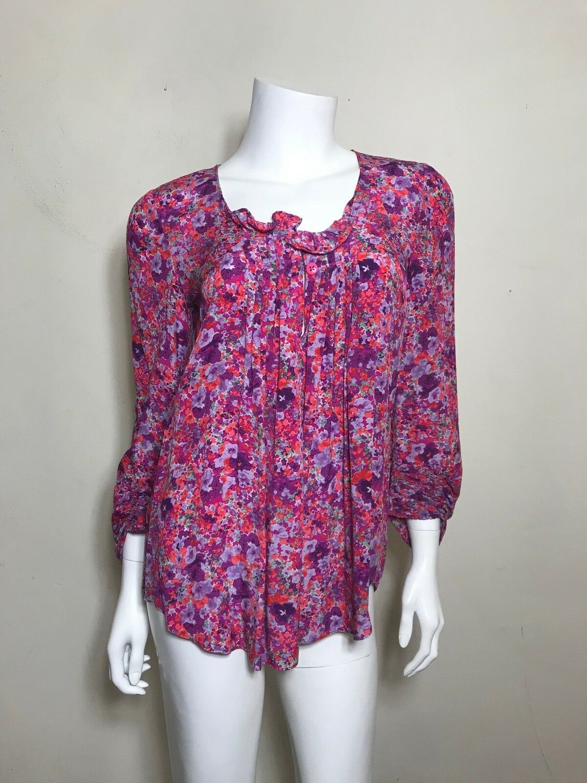 Rebecca Taylor Silk Floral Blouse in Rosa lila Größe 2