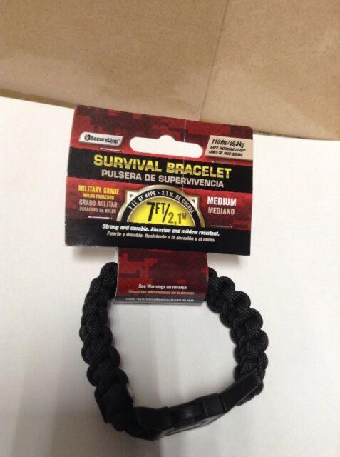 NEW SECURELINE Braided Survival Bracelet Black Medium NPCB550BKM