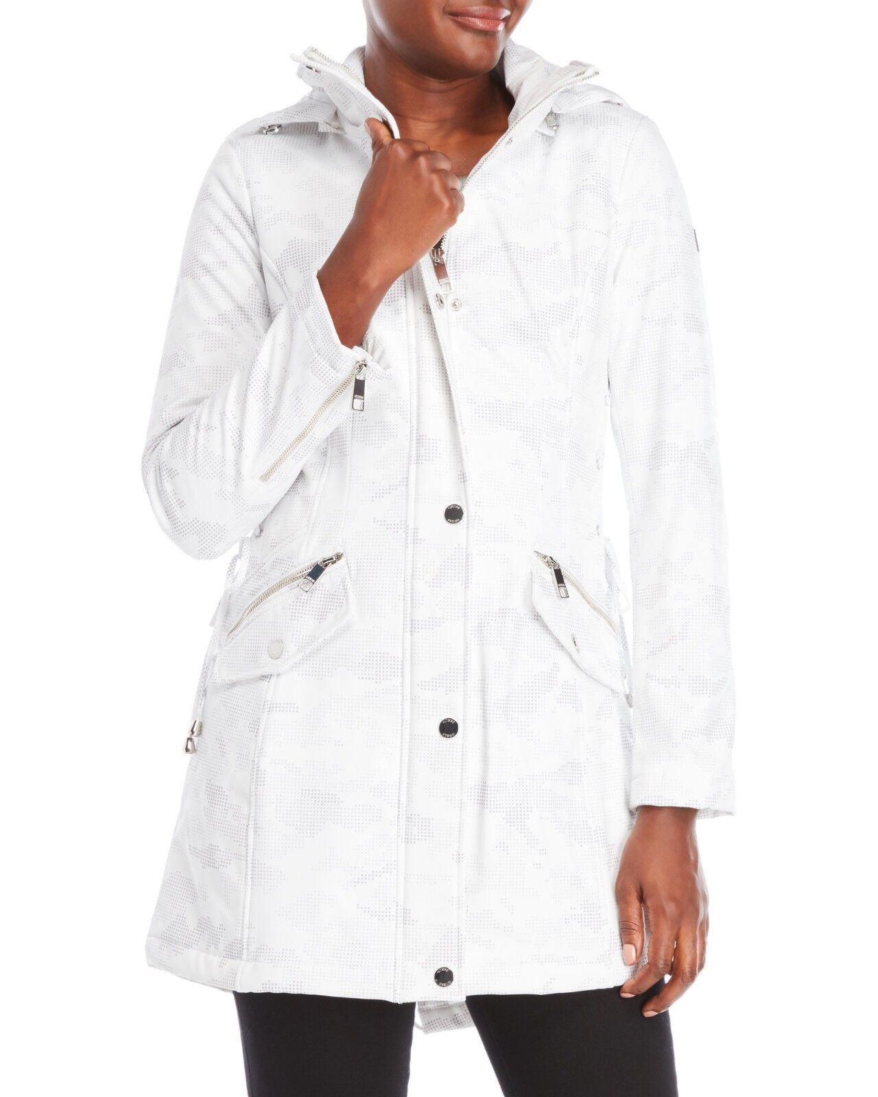 NEW  Guess Women's White Hooded Digital Camouflage Softshell Coat Size M