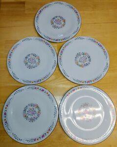 "Liling Fine China Dinner Plates Set of 5 Yung Shen White Roses Keepsake 10 5/8"""
