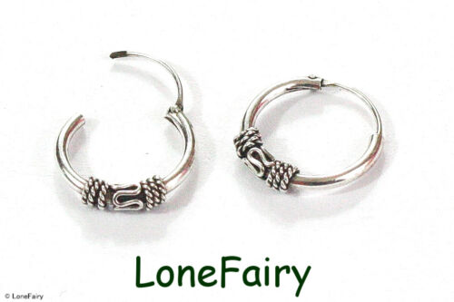 Pair of 925 Solid Sterling Silver Bali Style Hoop Earrings Ethnic Thai Festival