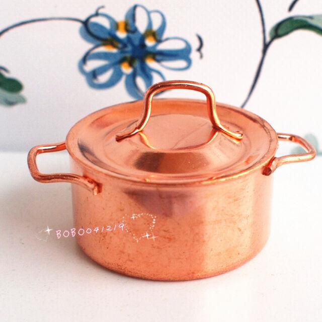 Dollhouse Miniature 1:12 Toy Kitchen Metal Golden Large Pot With Lid D32
