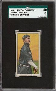 Rare 1909-11 T206 Lee Tannehill On Front Tolstoi Back Chicago SGC 40 / 3 VG