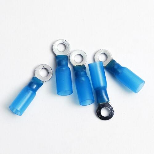 5 Heat Shrink Ring Terminal Connector  Blue 16-14 GA AWG Gauge #8 Crimp Wire