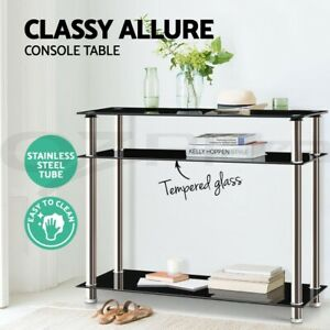 Artiss Hall Console Table Black Glass Hallway Entry Display Stainless Steel