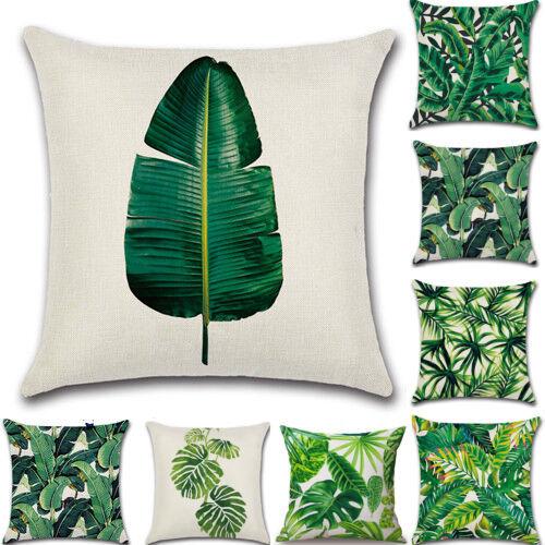 GREEN Tropical Cushion Cover 18 inch Waist Throw Leaf Summer Garden Pillow Case