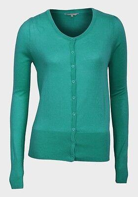 womens button up hip length long sleeve Green//jade lightweight Cardigan