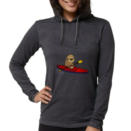 CafePress Funny Sloth Kayaking Long Sleeve T Shirt Womens Hooded S 200047821