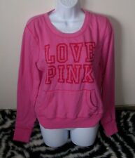 VICTORIA'S SECRET LOVE PINK RED LONG SLEEVE PULLOVER SWEATSHIRT TOP SWEATS LARGE