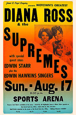 1965 DIANA ROSS /& THE SUPREMES 11x17 REPLICA CONCERT POSTER *MOTOWN* UNC
