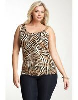 Simply Irresistible Print Cold Shoulder Tank Brown Plus Size 1x $58