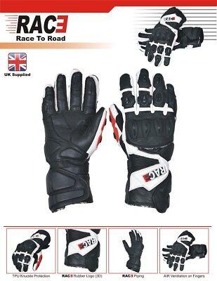 Original RAC3 Motorbike Molded Knuckle Waterproof Cowhide Leather Gloves