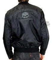 Harley-davidson Mens Willie Skull Flames Bomber Black Casual Jacket 98562-15vm