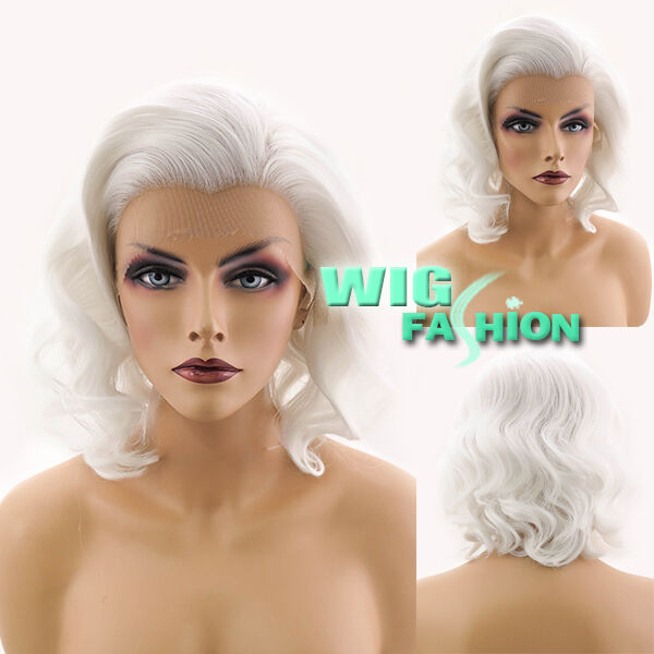 "11"" Short White Curly Lace Front Wig Heat Resistant"
