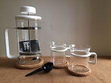 NIB BODUM Bistro K1508 Espresso 8 Cup French Press & Set 2 cups W coasters WHITE