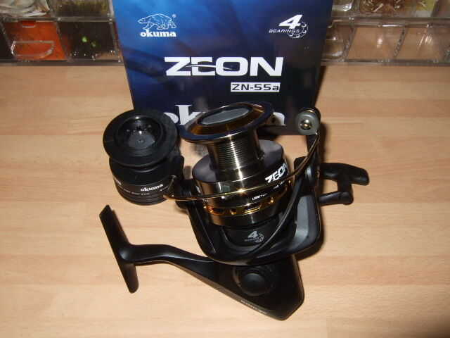 Okuma Zeon 55 Spinning Reel - Front Drag Fixed Spool 5500 Pier Boat (4 Bearings)