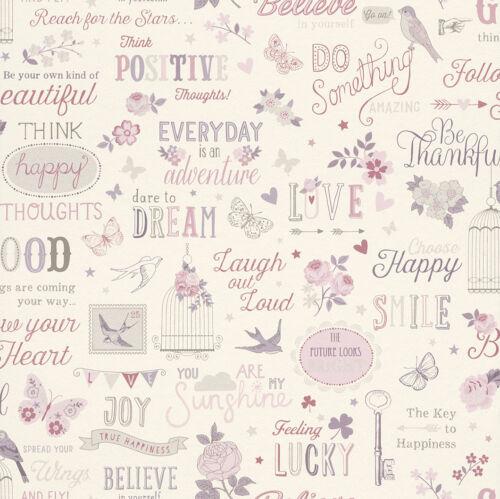 Tapete bunt rosé Mädchen Schmetterling Love Vintage Girls Crazy von Rasch